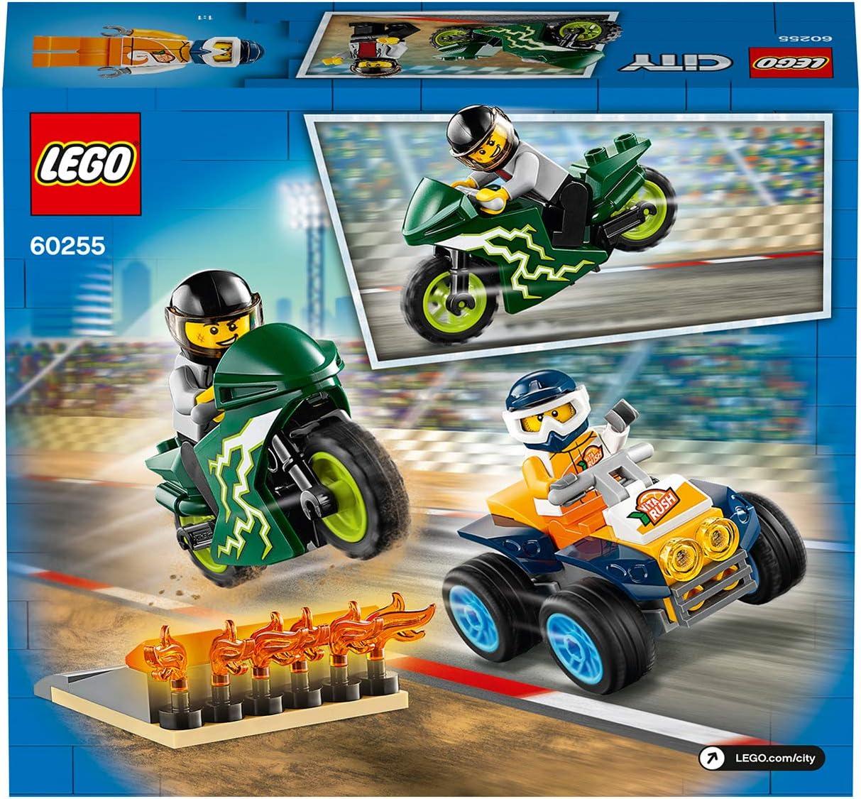 LEGO 60255 City Nitro Wheels Stunt Team Playset with ATV Quad Bike Motorbike and Stunt Ramp with Flames