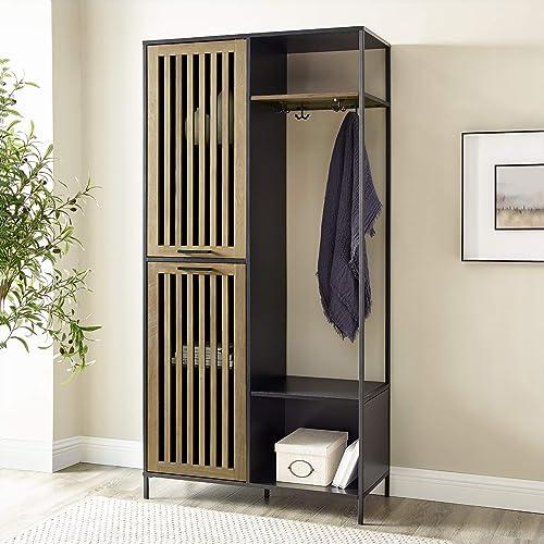 Walker Edison Furniture Company Slat Cabinet Door Metal and Wood Hall Tree Coat Rack