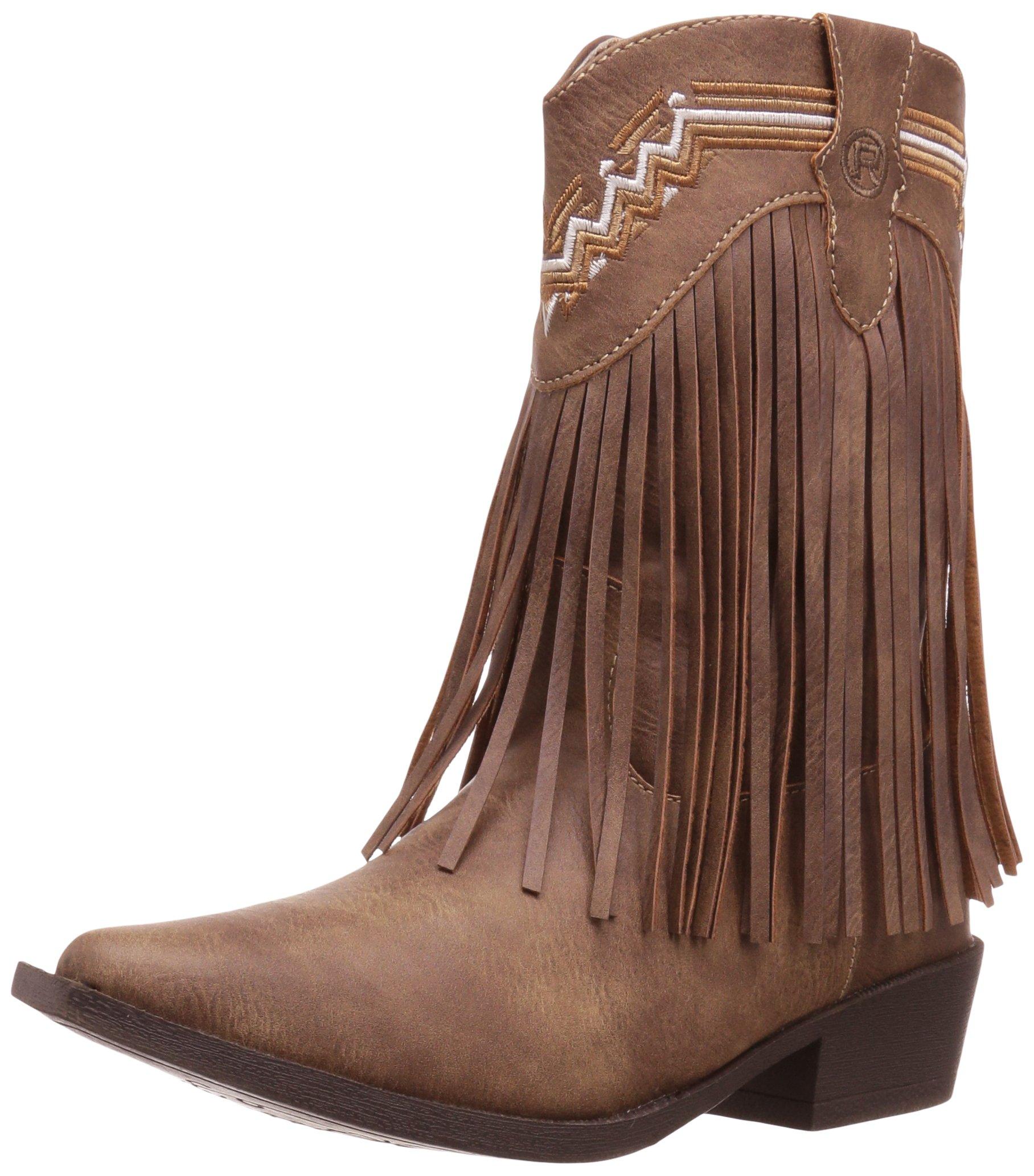 Roper Girls' Fringes Western Boot, Tan, 12 Child US Little Kid