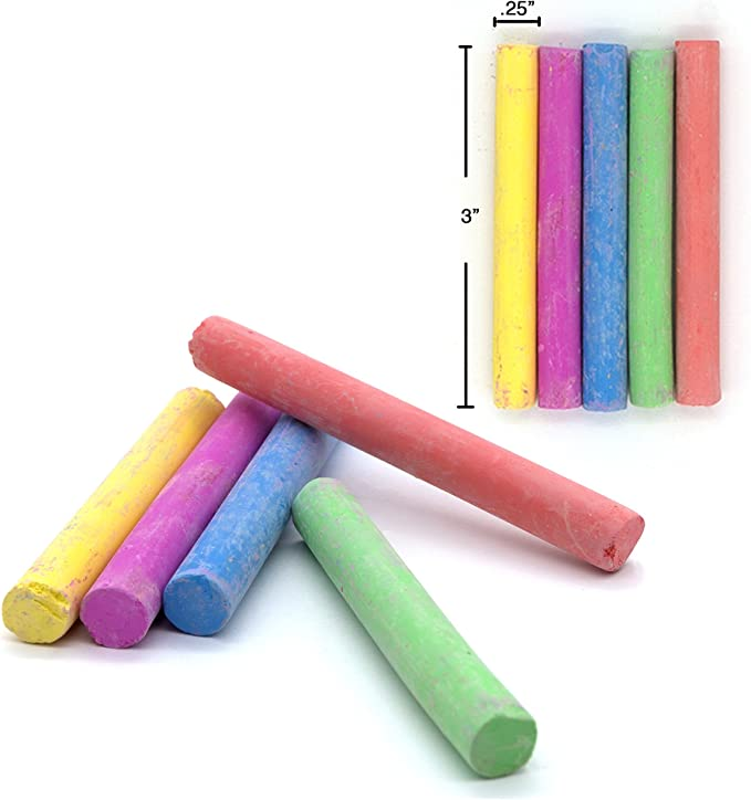 12 pcs MMTX Chalk Assorted Chalk Dustless Non-Toxic Multi Colored Chalkboard Chalk School Office and Sidewalk Outdoor Chalk Block Bundle for Art and Home Board Chalk