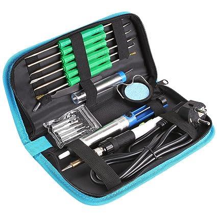 MVPOWER Kit del Soldador con Pinza Antiestática 6PCS Herramientas Auxiliares Bomba Desoldadora Cable de Soldadura de