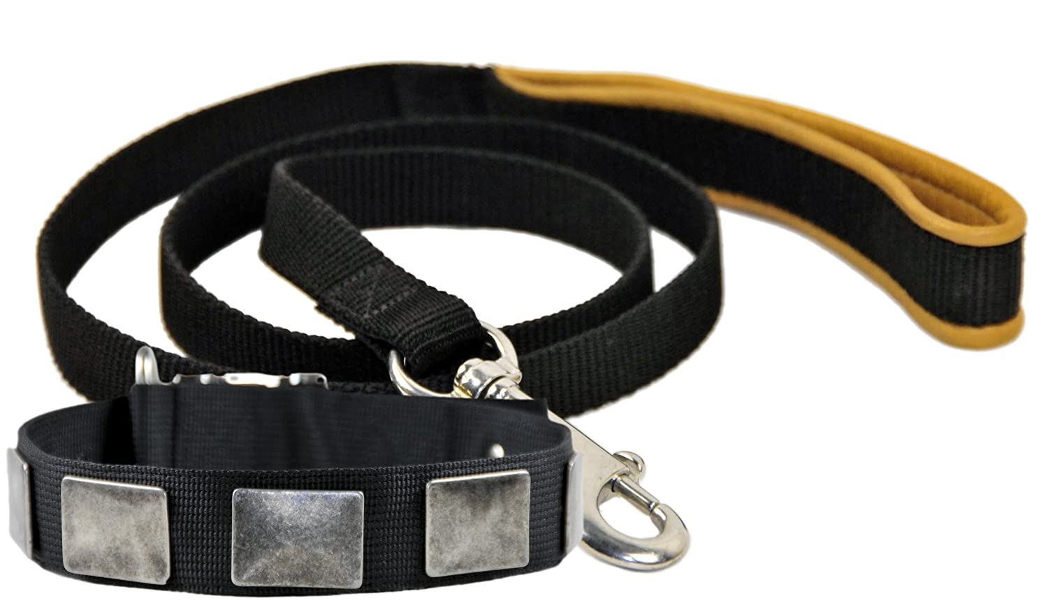 Dean and Tyler Bundle One For Tough Dogs Only  Collar, 26  by 1-1 2  With One Padded Puppy  Brown Padding Leash, 6 FT Stainless Snap Hook Black