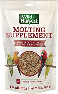 Wild Harvest Molting Supplement 7.5 Ounces, for All Birds, Supports Colorful and Healthy Plumage