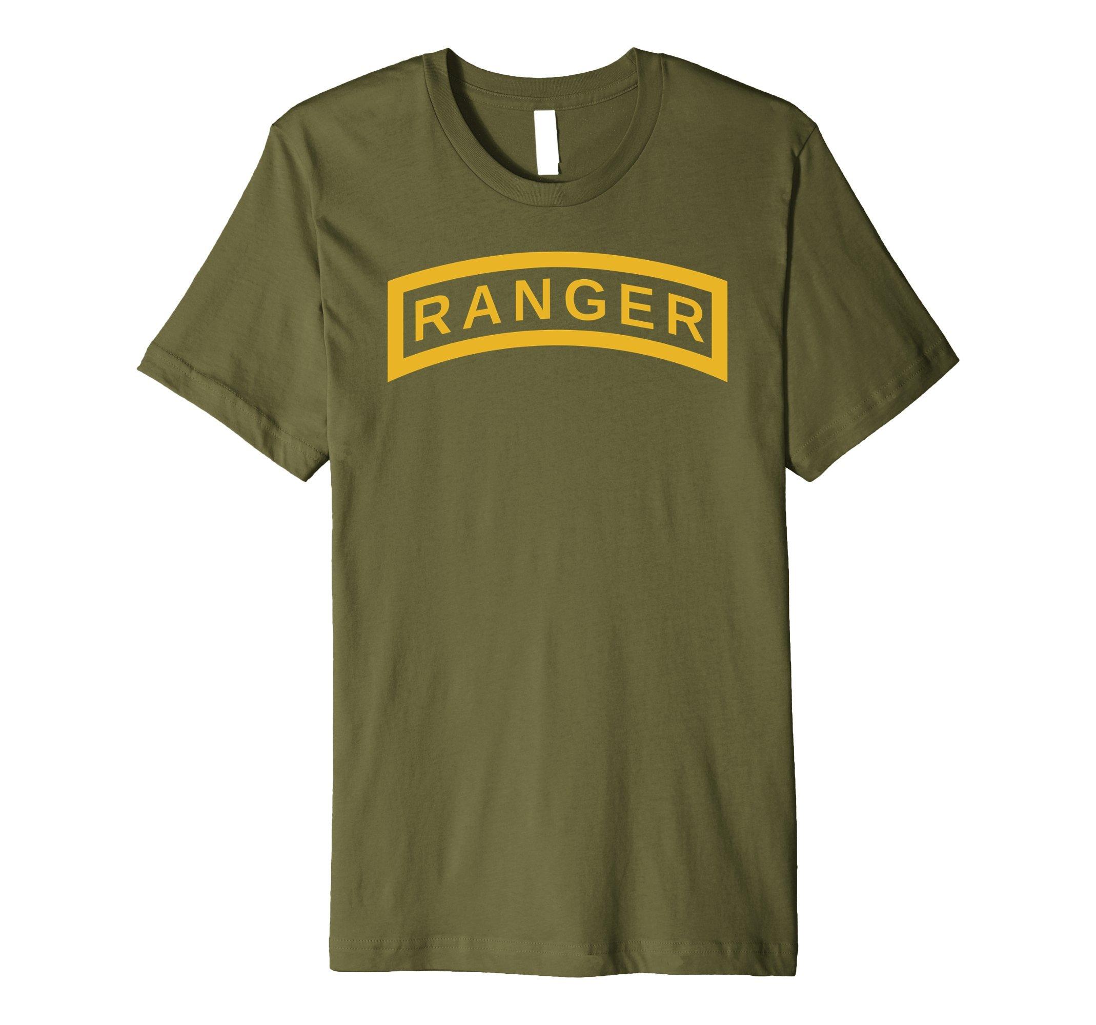 Mens US Army Vintage Airborne Ranger Tab Veteran Soldier Shirt Medium Olive