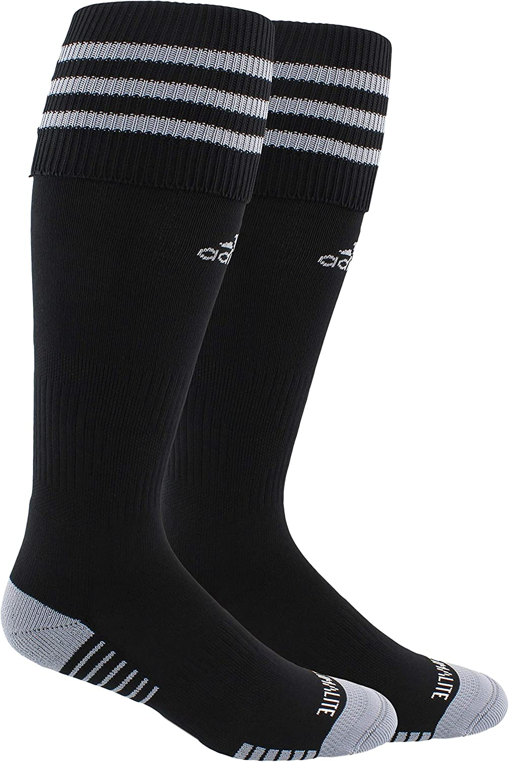 adidas Unisex Copa Zone Cushion III Soccer Socks (1-Pair), Black/Grey, 13C-4Y