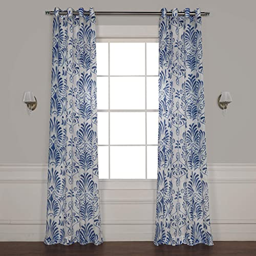 HPD Half Price Drapes SHCH-PS18041A-108-GR Grommet Printed Faux Linen Sheer Curtain 1 Panel , 50 X 108, Xenia Blue