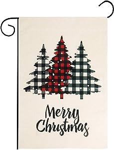 Besteek Christmas Garden Flag, Double Sided Christmas Yard Flag, Merry Christmas Flag Vertical Burlap Yard Outdoor Decoration 12x18 Inch