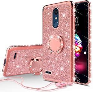 Wydan Case Compatible for LG Stylo 4, Stylo 4 Plus - Shockproof Glitter Ring Kickstand Hybrid Phone Cover