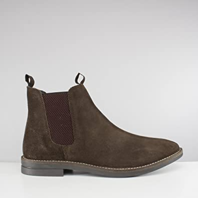6ade71b68 Silver Street London Sloane Mens Suede Chelsea Boots Dark Brown UK ...