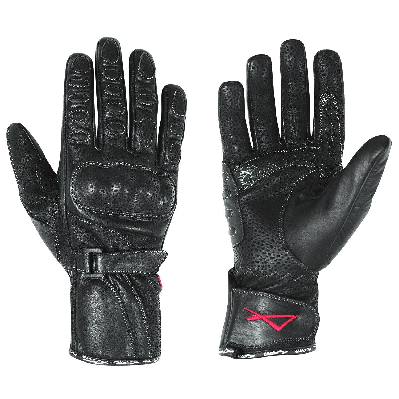 A-pro Gants de moto en cuir pour femmes, taille S, Noir