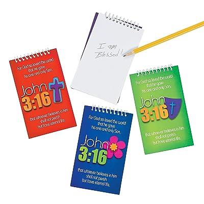 Fun Express - John 3:16 Spiral Notepads, 2 Dz. - Stationery - Notepads - Notepads - 24 Pieces: Toys & Games