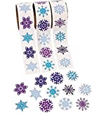 300 - Snowflake Stickers - 3 Assorted Rolls Scrapbook Crafts Christmas Stickers