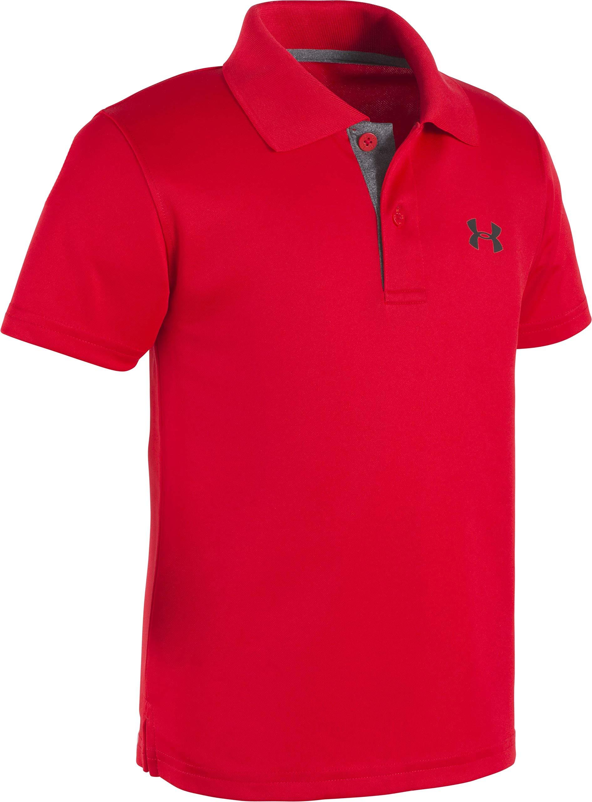 Under Armour Little Boys' Ua Logo Short Sleeve Polo, Red, 5