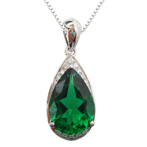 Navachi 925 Sterling-Silver 18k White Gold Plated 4.0ct Pear Emerald Az9671p Necklace Pendant 16