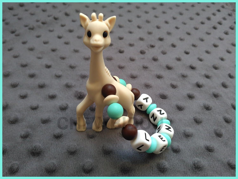 Hochet de dentition personnalisé 100% silicone - jouet de dentition Girafe