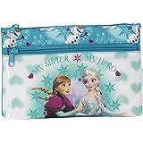 Disney Frozen - Die Eiskönigin Anna und Elsa, Schlamper Federtasche (S033), blau/weiß, 23 x 16 x 3 cm