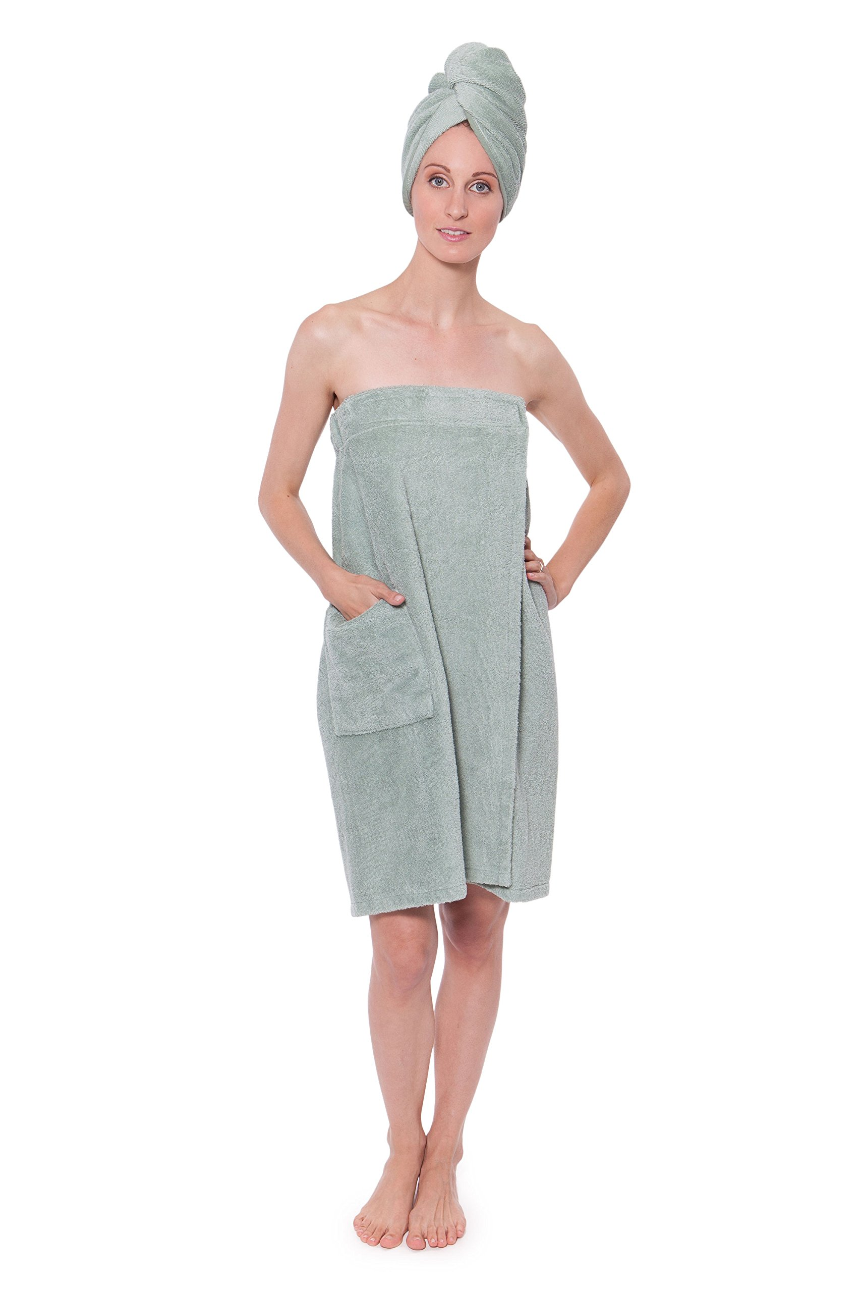 Texere Women's Bamboo Spa Wrap Set (Lily Green, Large/X-Large) Presents for Ladies and Teens Who Have Everything WB9903-LGN-LXL