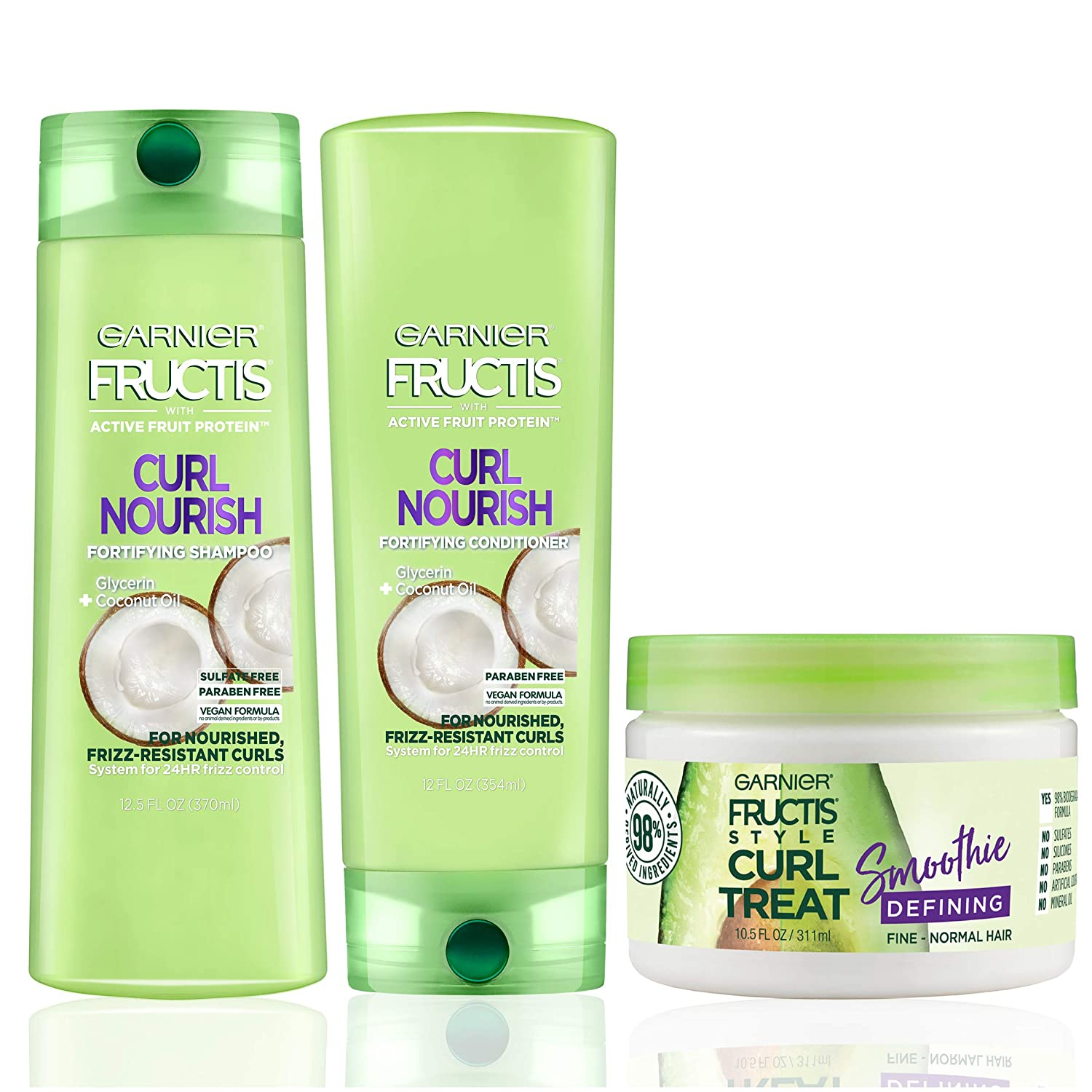 Garnier Hair Care Fructis Curl Nourish Shampoo, Conditioner, & Natural Styling Curl Treat Smoothie, Nourish for Frizz Resistant Curls, Frizz Free up to 24 Hours, Paraben Free,1 Kit
