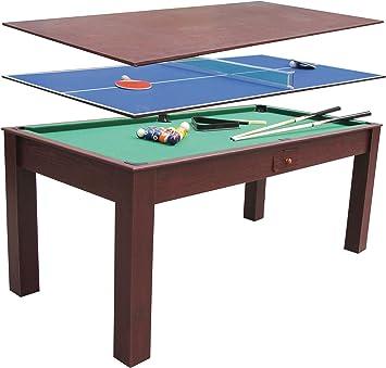 Devessport - Multijuego 3 en 1 - Billar, Ping-pong, Mesa de comedor, Fácil montaje, Patas con mayor estabilidad - Medidas: 184 x 91 x 78 Cm: Amazon.es: Juguetes y juegos