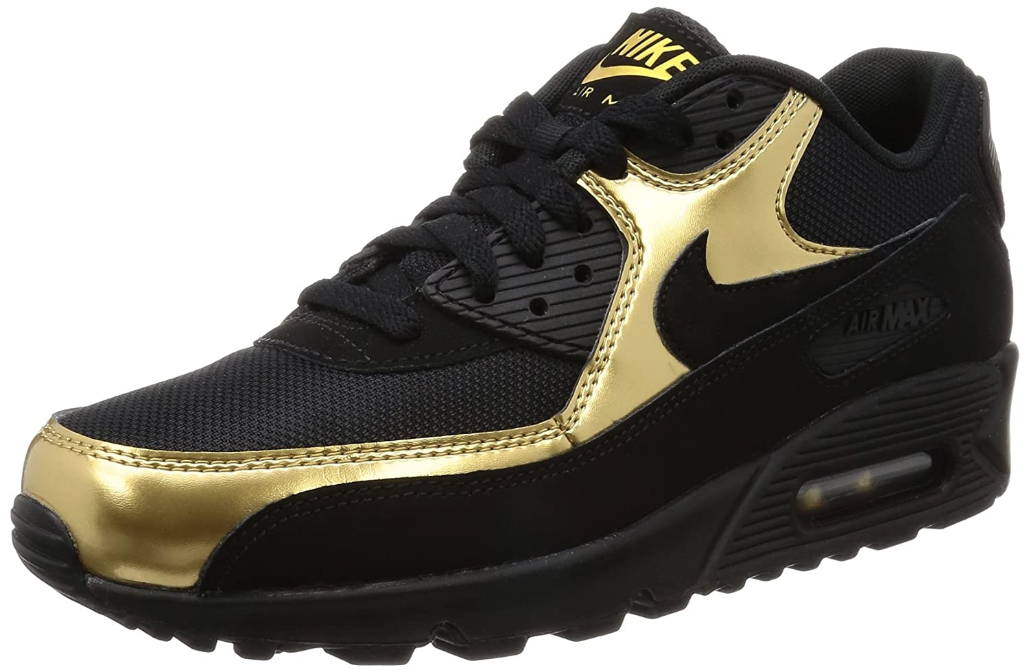 new style 7f848 7ee91 Nike Mens Air Max 90 Essential, Black Metallic Gold, 537384-058 chic.