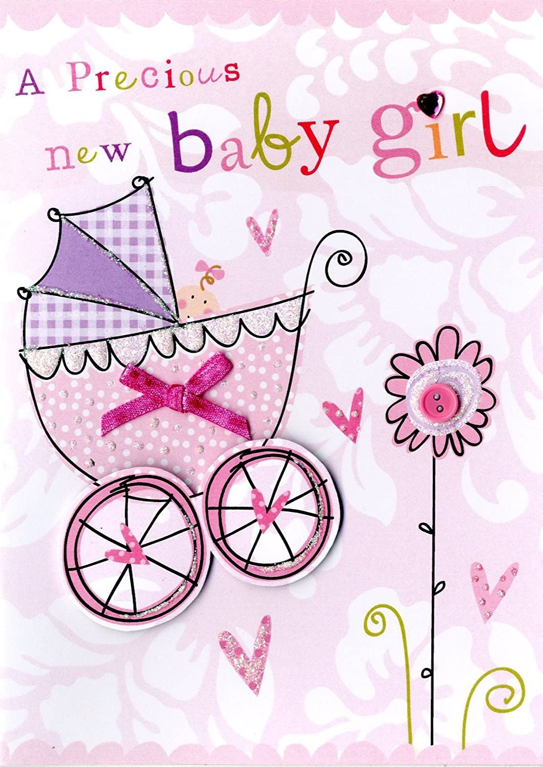 New Born Baby Girl Hand-Finished Congratulations Greeting Card