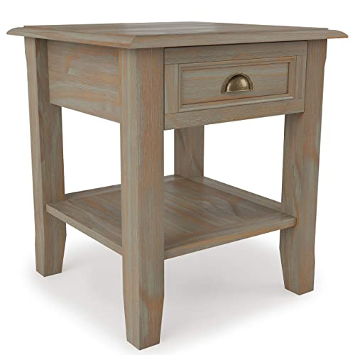Simpli Home AXCBUR-002GR Burlington Solid Wood 18 inch Wide Square Traditional End Table in Distressed Grey
