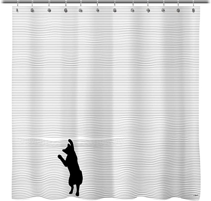 Sunlit Cute Black Cartoon Cat Shower Curtain With Black And White Stripes For Cat Lover Funny Curious Kitten Pussy Fabric Bathroom Decor Set Pvc Free Odorless Kitchen Dining