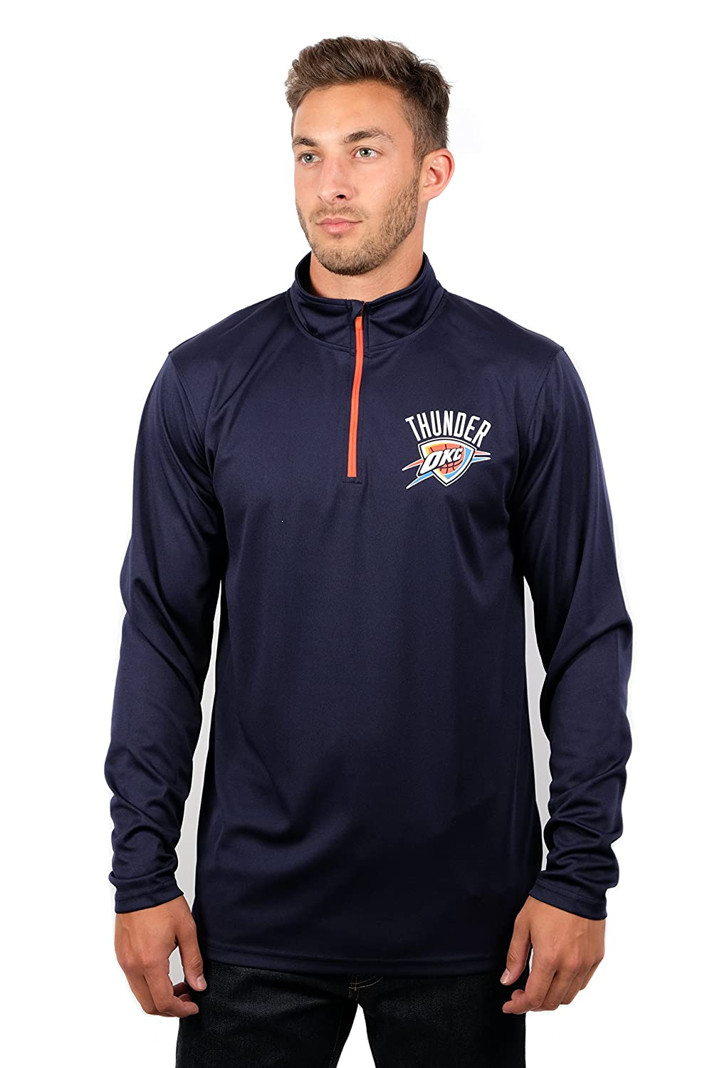 (Oklahoma City Thunder, Medium) - UNK NBA Men's Quarter Zip Pullover Shirt Athletic Quick Dry Tee, Team Colour B076LPRCHX
