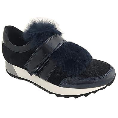 fc6dd014b2d005 Kanna 8767 Damen Sneaker mit Fell Klettverschluss Blau  Amazon.de ...