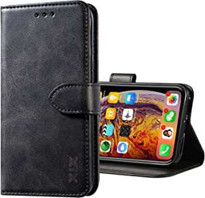 XIX iPhone X/XS Case Premium Genuine Leather Flip Folio Cover with Kickstand and Wallet Credit Slots for Apple iPhone X XS (Black,iPhone X/XS)