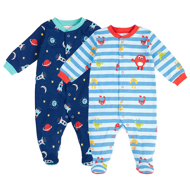 Pekkle Unisex Baby 2 Pack Footed Sleeper Snap Sleep