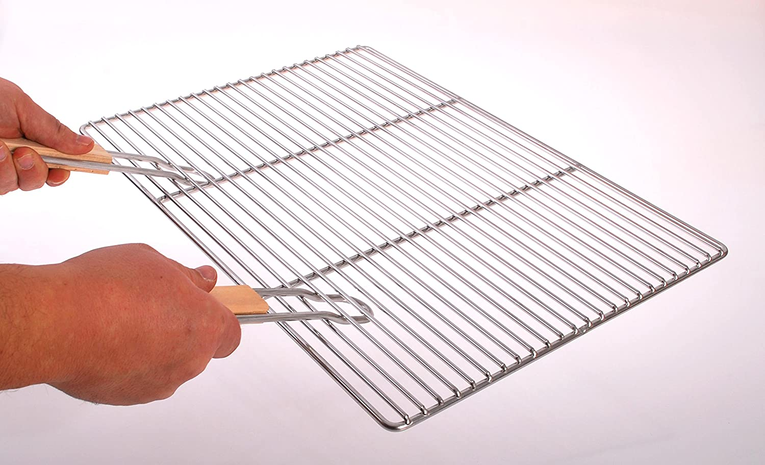 Stainless steel BBQ coocking and grill grate with handles 54x34 cm grill rack