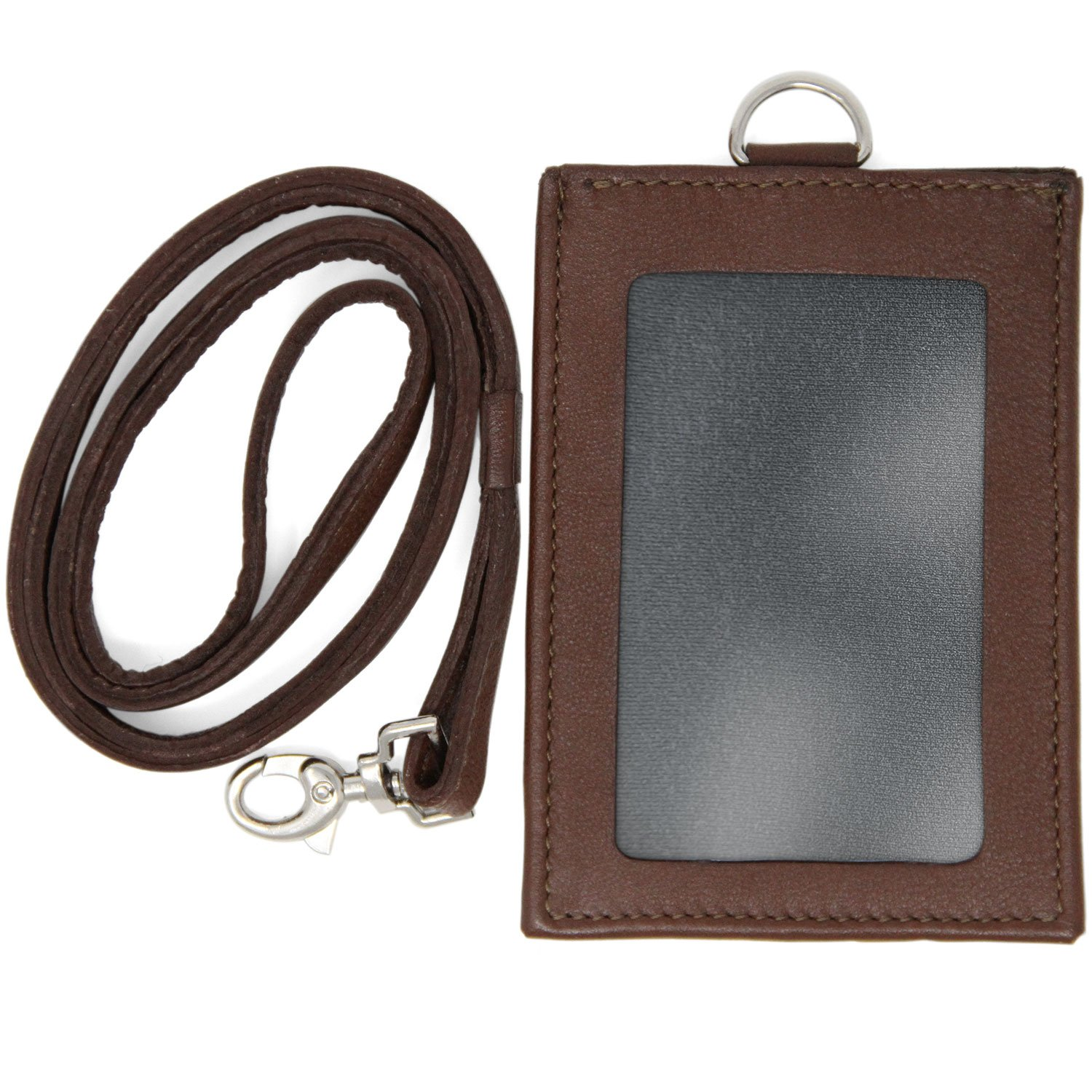 Logical Leather ID Lanyard with Detachable Vertical Badge Holder - Genuine Leather Lanyards for Women & Men (Brown)