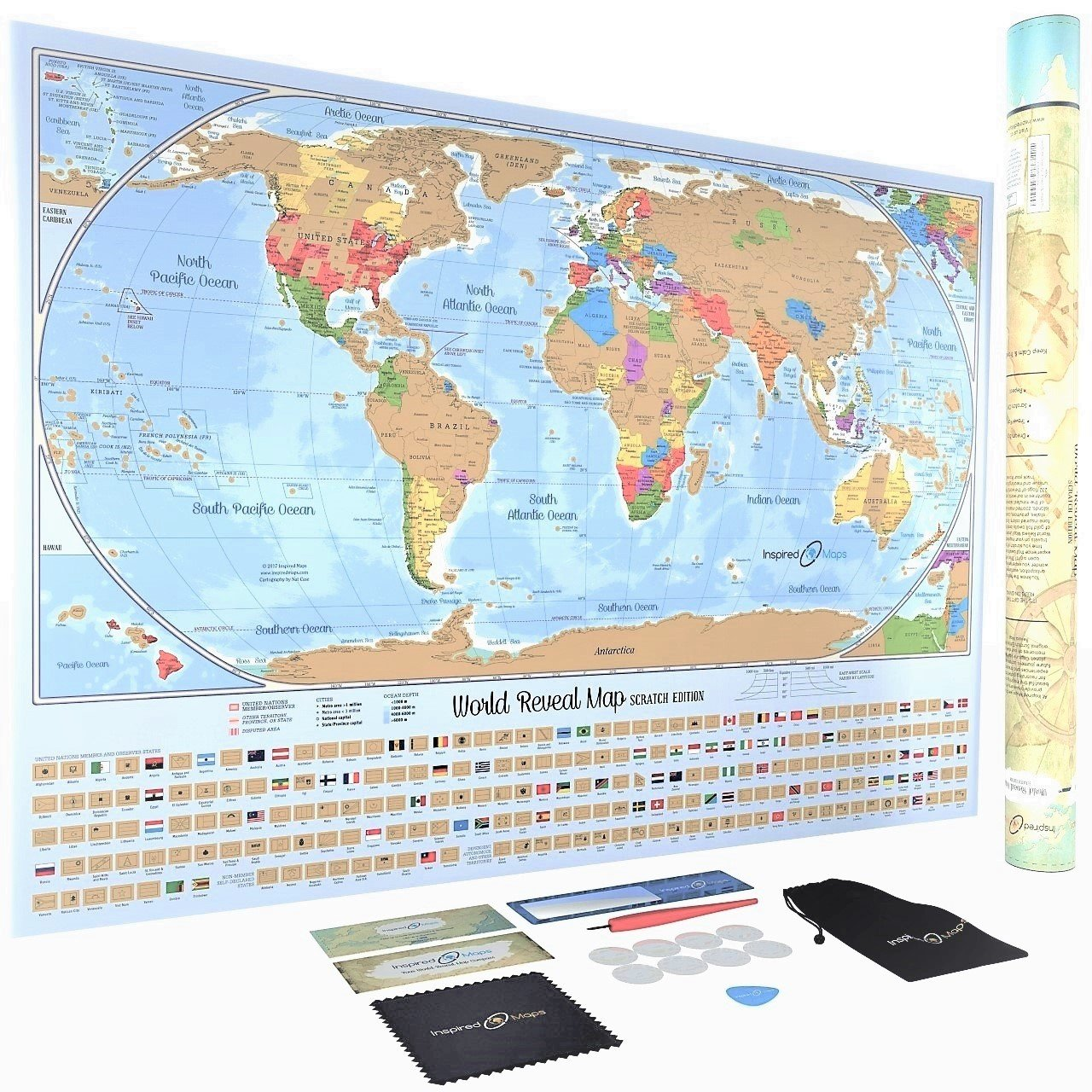 Scratch Off World Map Poster with 232 World Flags - US States and Canadian  Provinces Outlined - Designed by US Cartographer - Accessories Included -  ...