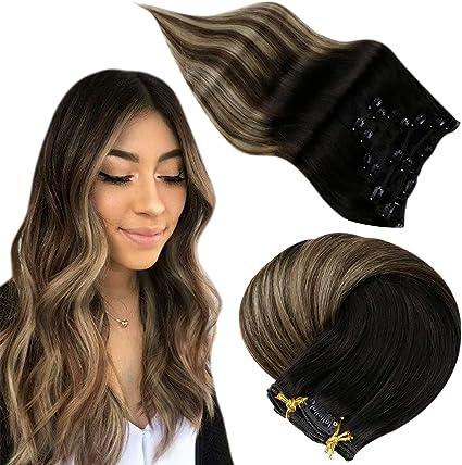 Easyouth Clip en Extensiones de Cabello Color #1B/6/27 Apagado Negro Mezcla Marrón medio y Rubio miel 14 pulgadas/7 Piezas 70g Remy Human Clip Hair ...