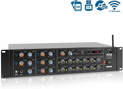 12-Channel Wireless Bluetooth Power Amplifier - 6000W Rack Mount Multi Zone Sound Mixer Audio Home Stereo Receiver Box System w/RCA, USB, AUX - for Speaker, PA, Theater, Studio/Stage - Pyle PT12050CH