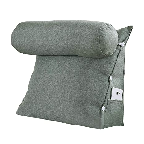 VERCART – cojín de Lectura Triangular polochon Ajustable de sofá Cama Wedge Pillow Bodega Cuello Apoyo Dos (Lino, desenfundable, Lino, Vert Gris, ...