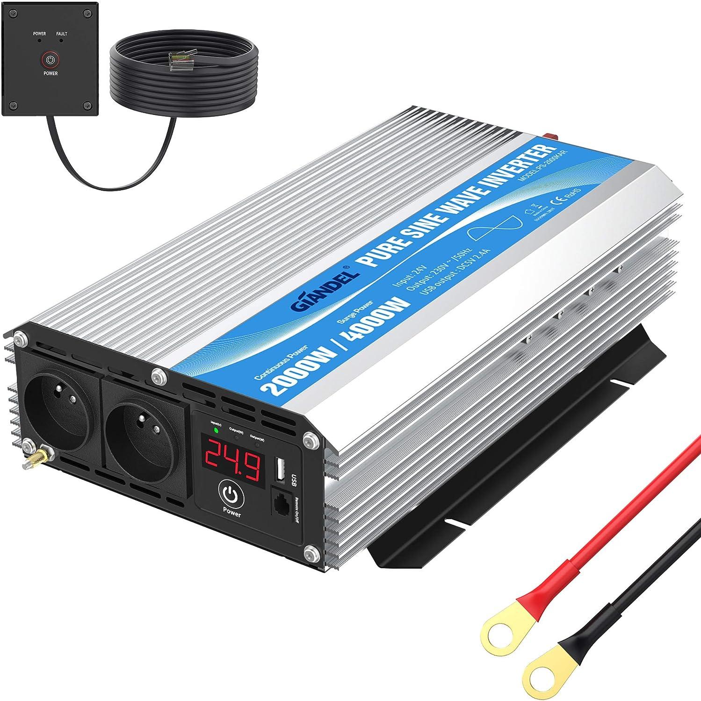 Convertidor de 24 V 220 V 230 V puro Sinus 2000 W inversor de onda Sinusoidal puro transformador con dos tomas AC con puerto USB y pantalla LED GIANDEL