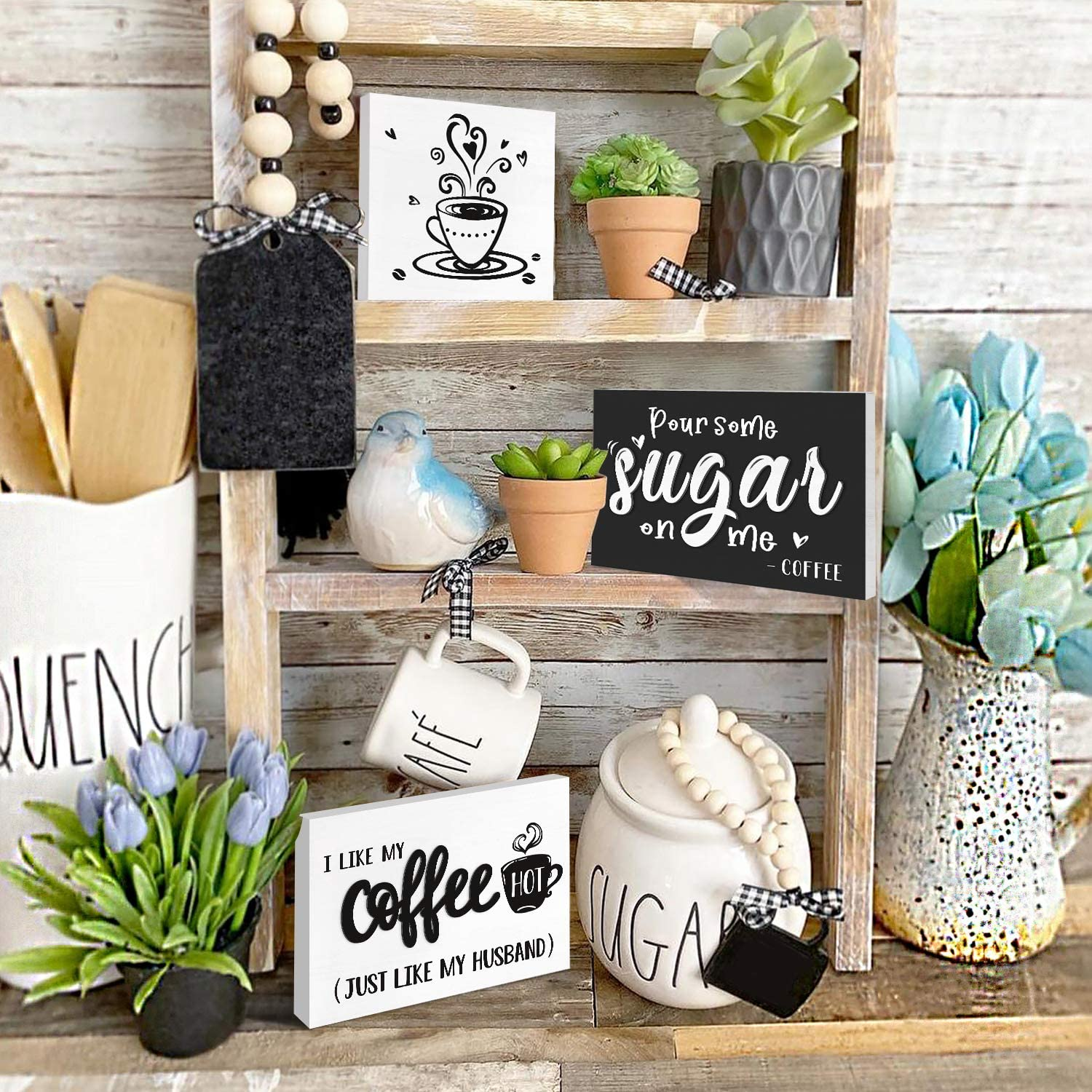 Easter Sign Farmhouse Decor Rae Dunn Inspired Mini Coffee Bar Sign Farmhouse Miniature Miniature Sign Wood Framed Tiered Tray Sign