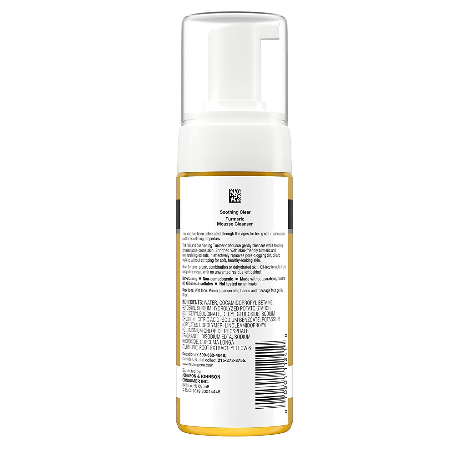 Neutrogena Soothing Clear Calming Mousse Facial Cleanser with Soothing & Calming Turmeric, Gentle Face Wash for Acne-Prone Skin, Paraben-Free, Oil-Free, Not Tested on Animals, 5 fl. oz: Beauty