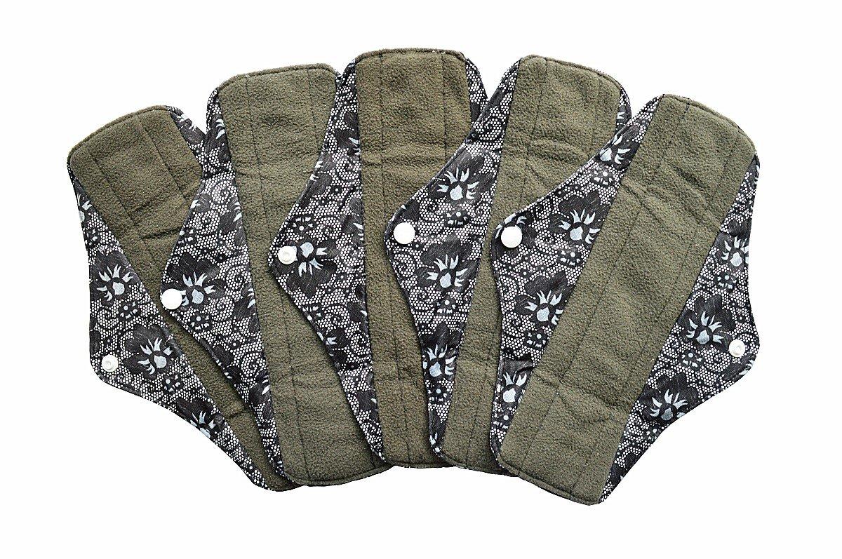 5 Pieces Charcoal Bamboo Mama Cloth/ Menstrual Pads/ Reusable Sanitary Pads (Regular (10 inch), Black Lace)