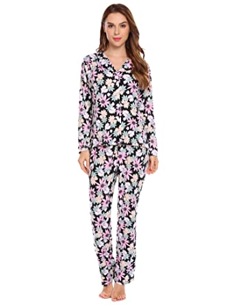 eb1cd94cfc Langle Ladies Pajamas Sets Turn Down Collar Floral Lounge Wear with Front  Buttons (Floral 1