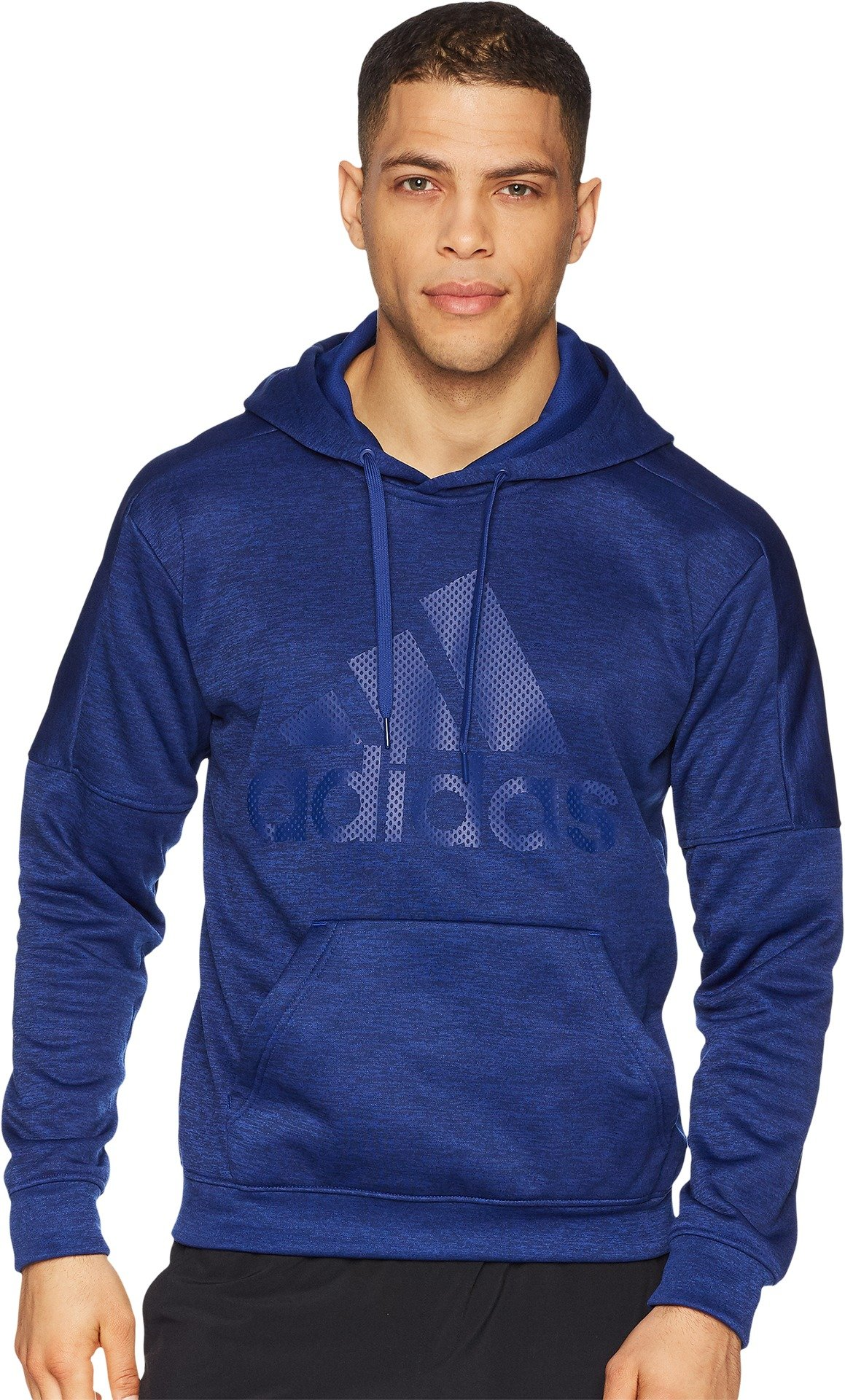 adidas Men's Athletics Team Issue Fleece Logo Pull Over Hoody, Mystery Ink Melange/Mystery Ink Melange/Mystery Ink, Medium