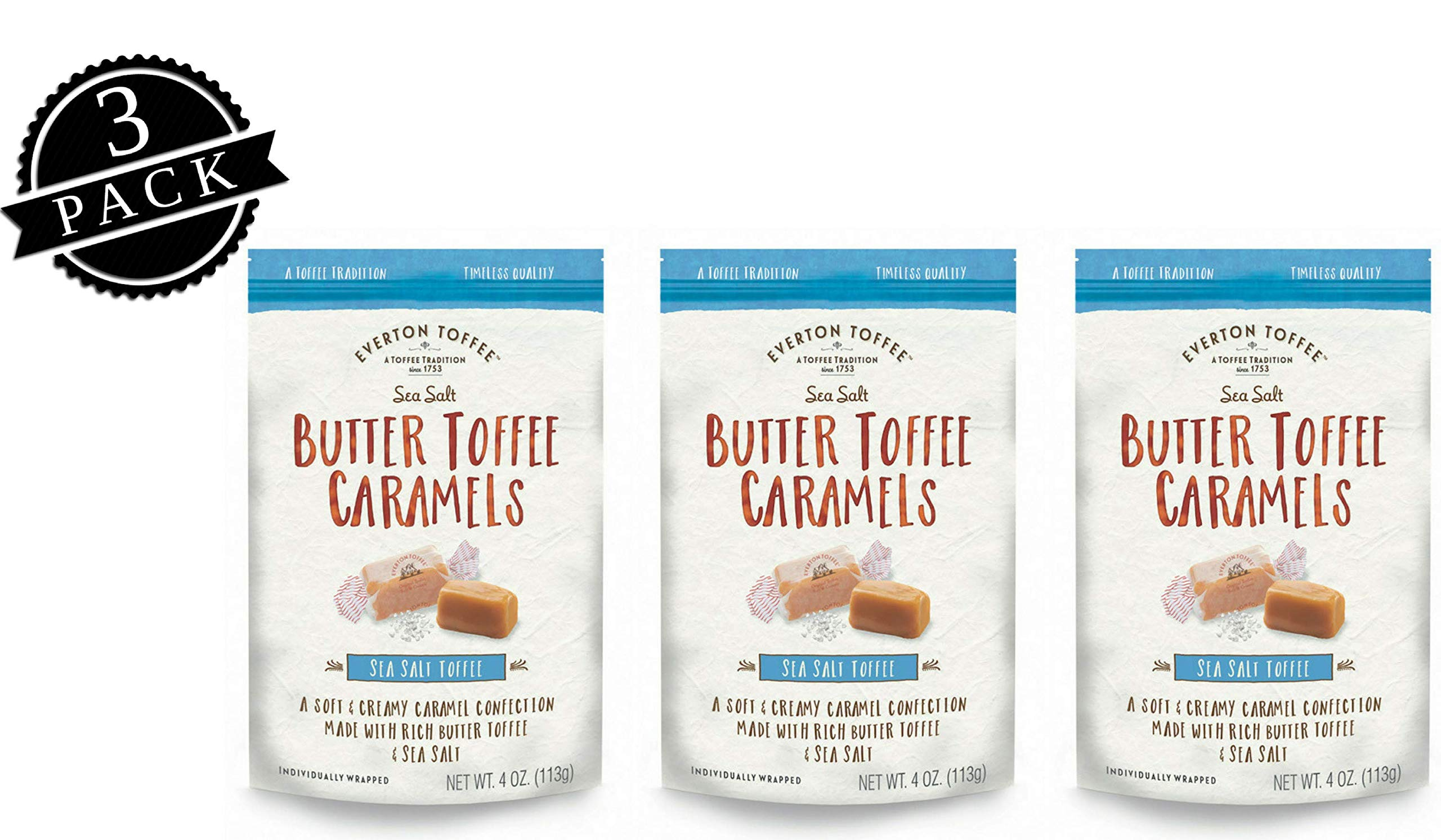 Everton Toffee Butter Toffee Caramels, Sea Salt Flavor (4 oz. bag, 3-pack). Gourmet, Artisan Soft and Creamy Toffee Caramels, Small Batch Crafted Carmel Candy Treats by Everton Toffee