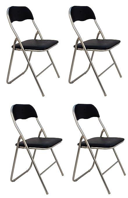 La Silla Española - Pack 4 Sillas plegables fabricadas en aluminio con asiento y respaldo acolchados en PVC, modelo Sevilla, Color negro. Medidas ...