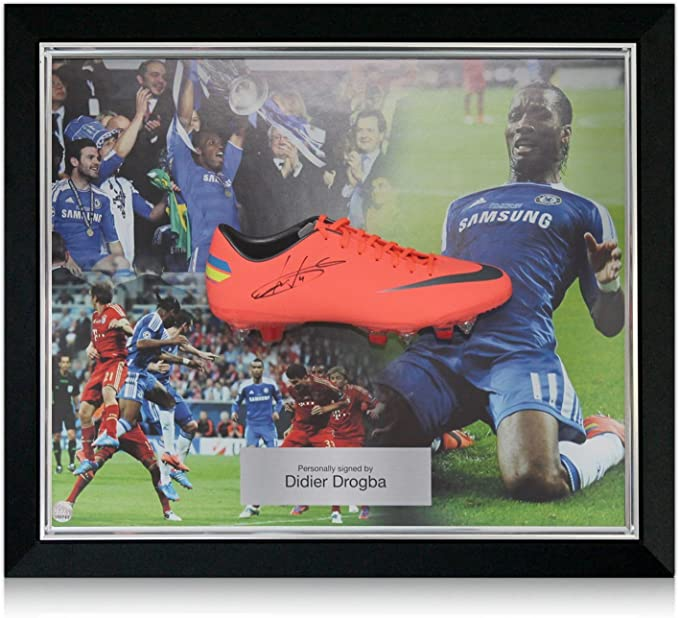 Caja de Didier Drogba Firmado Champions League Final Boot: Amazon ...