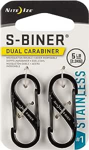 Nite Ize Size-1 S-Biner Dual Spring Gate Carabiner, Black, 2-Pack