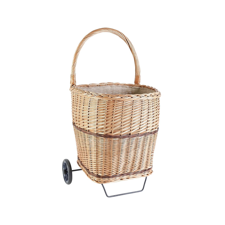 Kamino-Flam Carrello portalegna in vimini con ruote, cesto portalegna con rotelle e fodera in juta, ca. 41 x 45 x 50/80 cm Kamino - Flam 339455