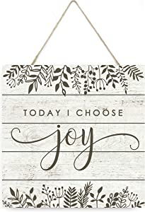 MRC Wood Products Today I Choose Joy Wooden Plank Sign 7.5x7.5
