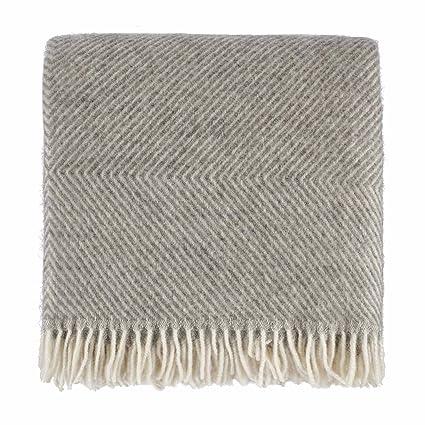 URBANARA 140x220 cm Wolldecke 'Gotland' Grau/Creme — 100% Reine skandinavische Wolle — Ideal als Überwurf, Plaid oder Kuschel